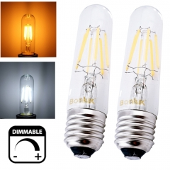Dimmable T10 Tubular High Brightness Filament COB LED Light Bulb E26 Base Vintage Edison Bulb for T10 Incandescent Bulb Replacement 2-Pack