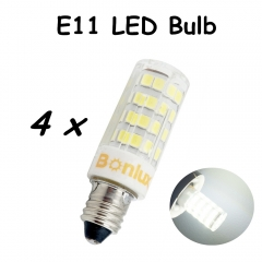 E11 LED Bulb Light 110V 4W Crystal Lamp 360 Degree 350lm LED E11 Light Replace 35W Halogen Bulb for Chandelier lighting-Pack of 4