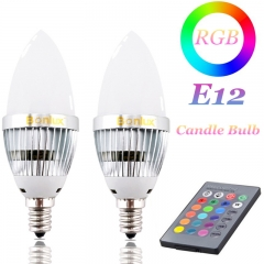 3W E12 RGB LED Bulb, 16 Colors 4 Modes Choice, Control Color Changing Candle Light Bulb for Home Decoration/Bar/Party/KTV Mood Ambiance Lighting