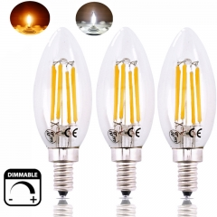 Dimmable 6W LED E12 Candle Candelabra Base LED Light C35 E12 Torpedo Shaped Filament Bulb Light 60W Incandescent Replacement Bulb-Pack of 3