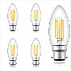 B22 LED Filament Candle Light Bulb C35 BC Bayonet Cap 4W 400LM Classic Style Bulbs Replace 35-40 W Incandescent Bulb Non-dimmable for Chandelier Lamp
