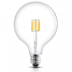 Globe G125 E27 LED Filament Glass Globe Dimmable 8w 125mm ES Edison Screw LED Vintage Retro Filament Globe Bulb 70 Watt Incandescent Equivalent