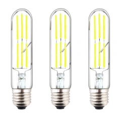 T10 Tubular LED E26 Filament Bulbs Dimmable 60W E26 Incandescent Replacement Light Bulbs Soft White Vintage Clear Glass LED Tubular Bulb