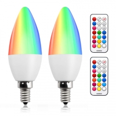Bonlux Dimmable RGB + Warm White LED Color Changing Light Bulbs C35 E12 Color LED Memory Timer Function with Remote Control for Decoration Lighting